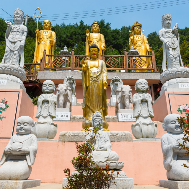 """Statues at Buddhist temple in Busan, South Korea."" stock image"