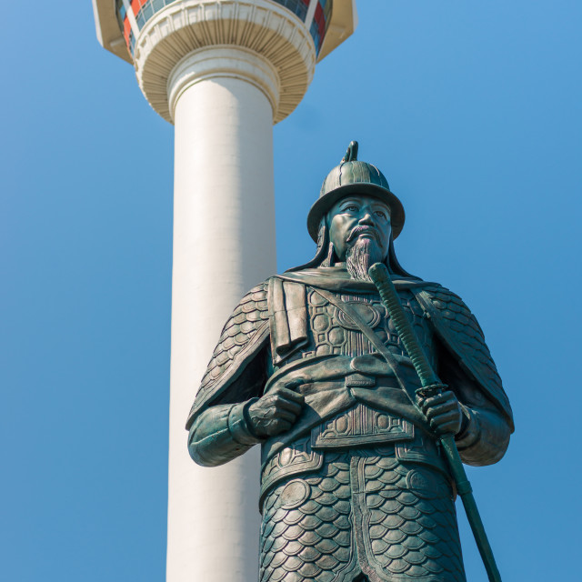 """Busan Tower and statue of Admiral Yi Sun-shin at Yongdusan Park, Busan, South..."" stock image"
