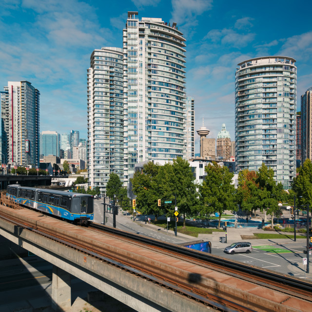 """View of Sky Train and urban office blocks and apartments, Vancouver, British..."" stock image"