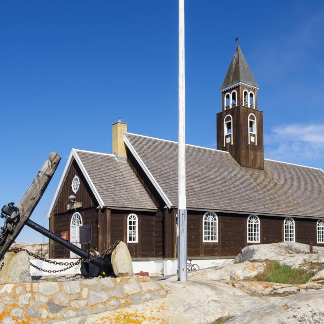 """18th century Zions Kirke or Zion Church summer 2016 Ilulissat (Jakobshavn),..."" stock image"