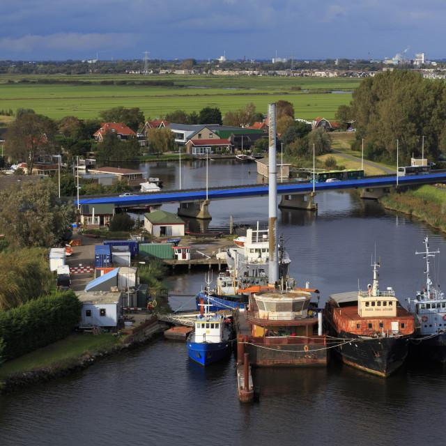 """Boats, Zaandam, Holland, Netherlands, Europe"" stock image"