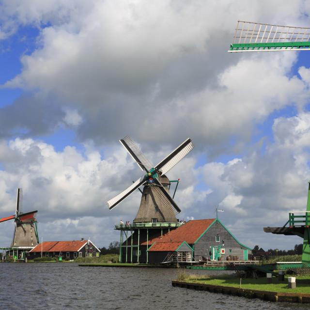 """Windmills, Zaanse Schans Historical Village, Zaandam, Netherlands"" stock image"