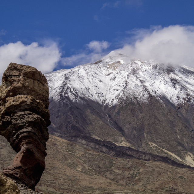 """""""Teide Mountain covered with snow and Roques de Garcia, Teide National Park,..."""" stock image"""