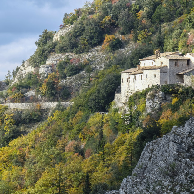 """Italy, Umbria, Apennines, Gubbio, St Ambrogio hermitage"" stock image"
