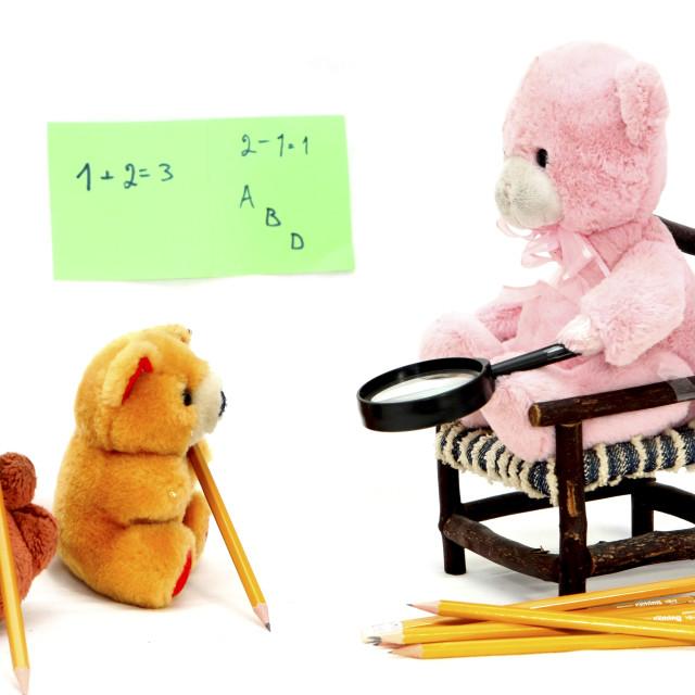 """Teddy Bear in a class room"" stock image"