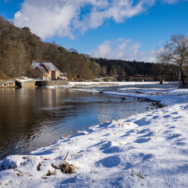"""Snow At Mertoun Mill"" stock image"