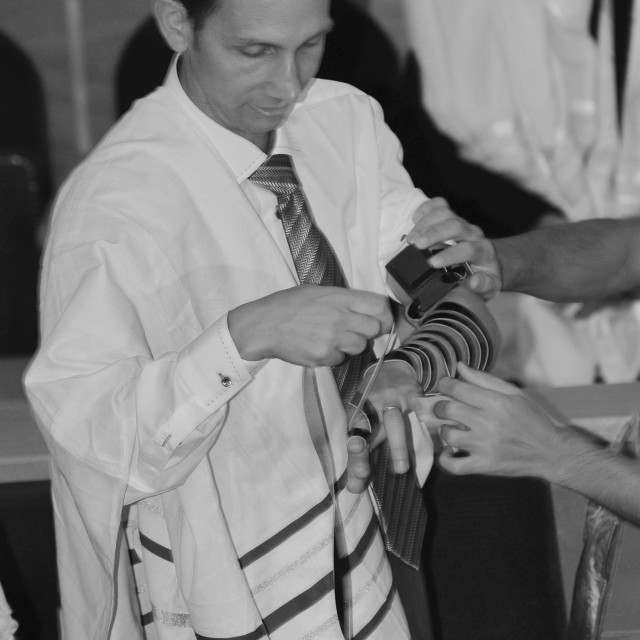 """laying tefillin"" stock image"