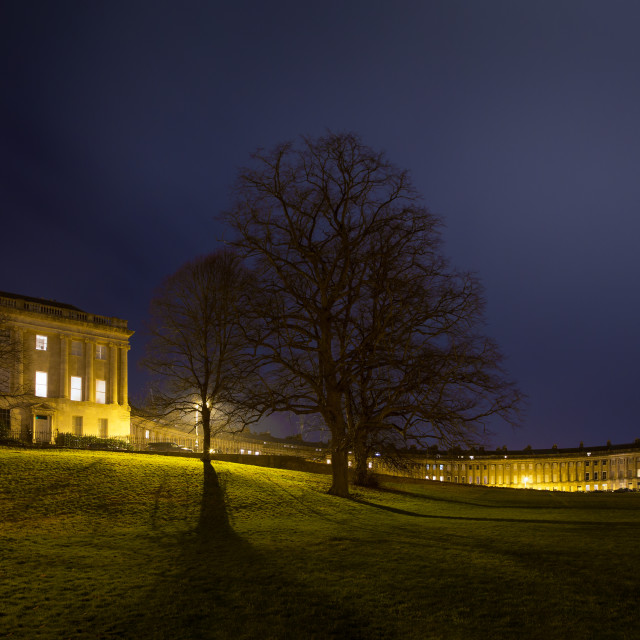 """The Royal Crescent at night, Bath, UK"" stock image"