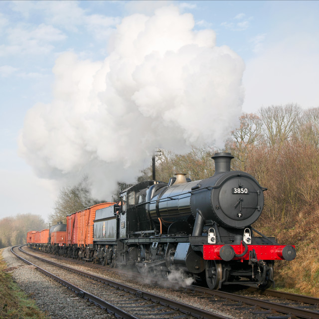 """""""Mixed goods train on the main line"""" stock image"""