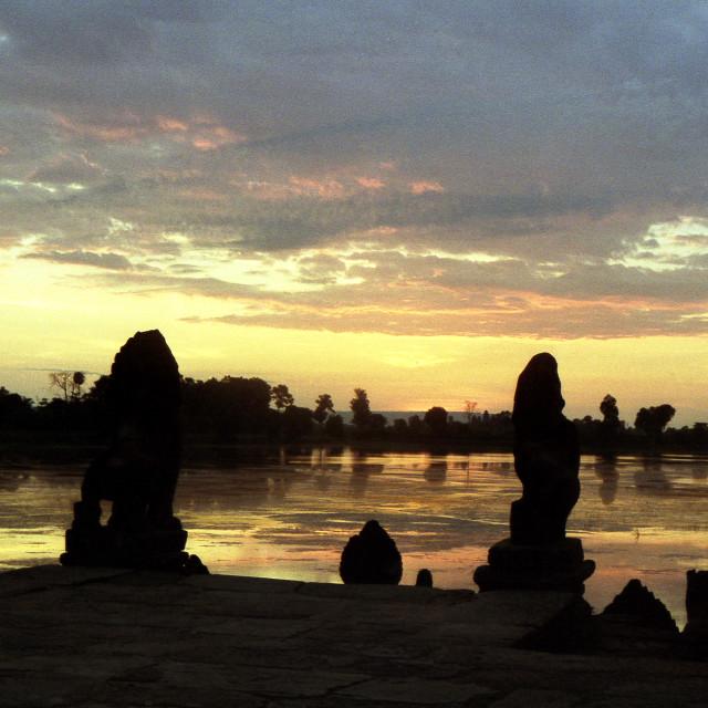 """Sunrise at Ankor Wat, Cambodia"" stock image"