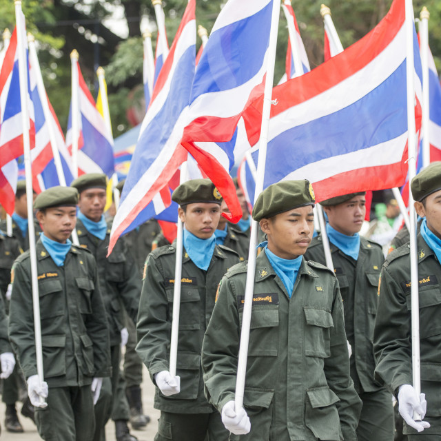 """THAILAND BURIRAM SATUEK LONGBOAT RACE ARMY"" stock image"