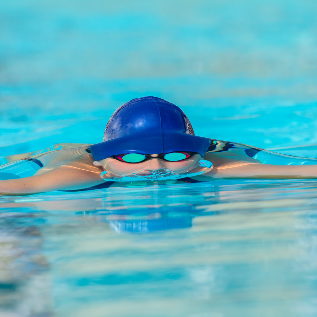 """Swimmer Head Frozen Water Line"" stock image"