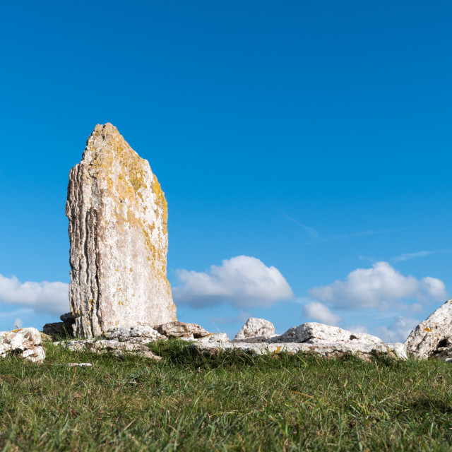 """""""Ancient standing stone on a hill"""" stock image"""