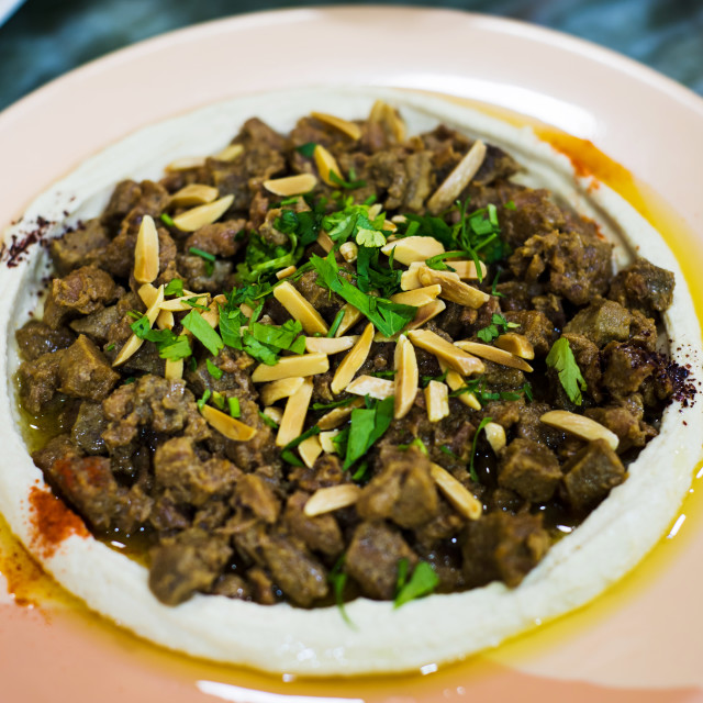 """Meat with hummus on a plate, arabic meal"" stock image"