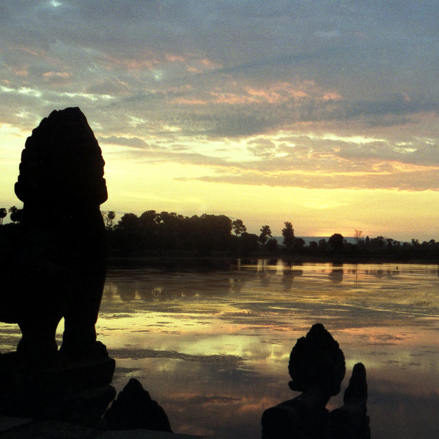 """Sunrise at Ankor Wat, Cambodia."" stock image"