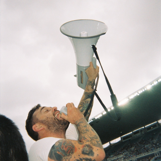 """""""Football fan with megaphone"""" stock image"""