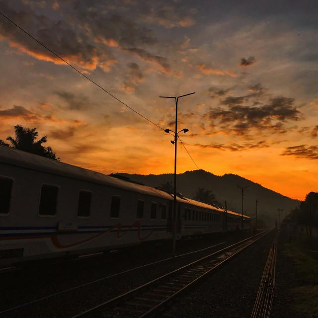 """sunrise at hill"" stock image"