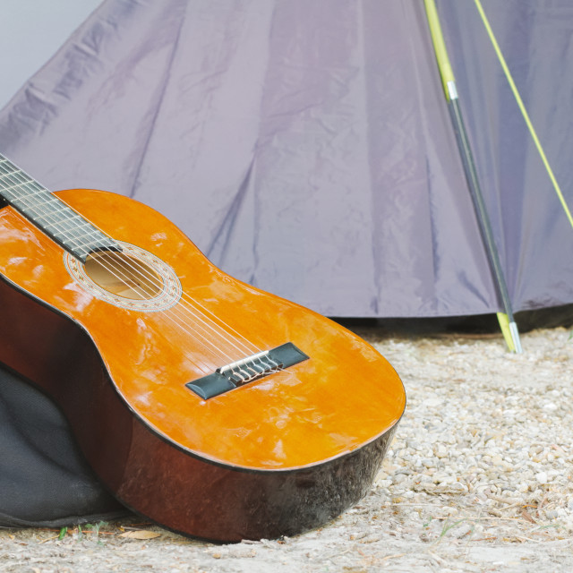 """""""Guitar and Tent"""" stock image"""