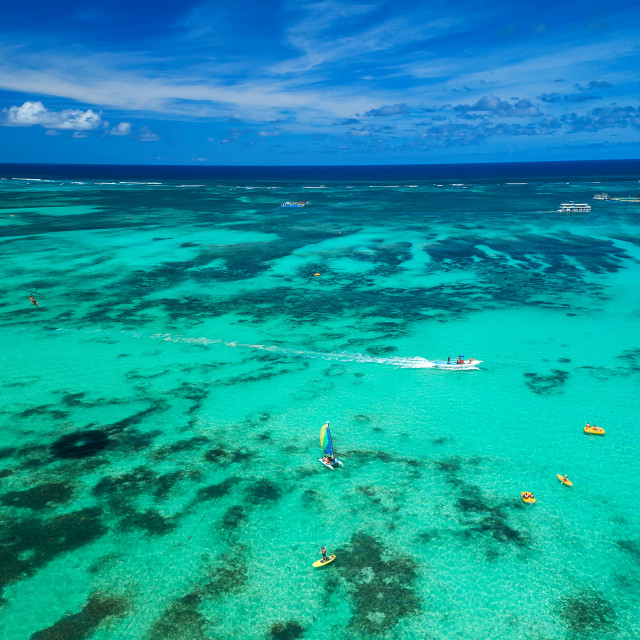 """""""Aerial drone view of people enjoying water sports sea activities"""" stock image"""