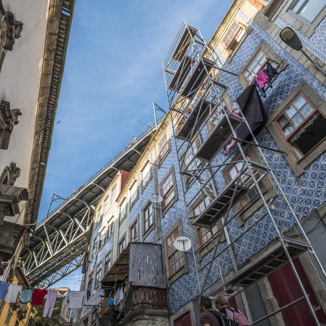 """Ponte Luis I bridge is a landmark in Porto Portugal"" stock image"