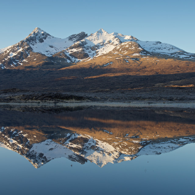 """Sunrise and Reflections at Sligachan"" stock image"