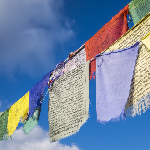 """Low angle view of prayer flags"" stock image"