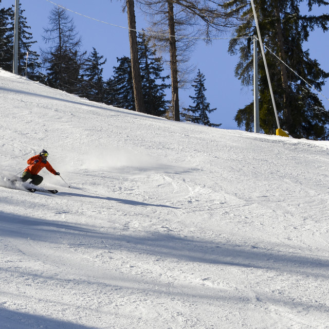 """""""Sole skier down a piste at high speed"""" stock image"""