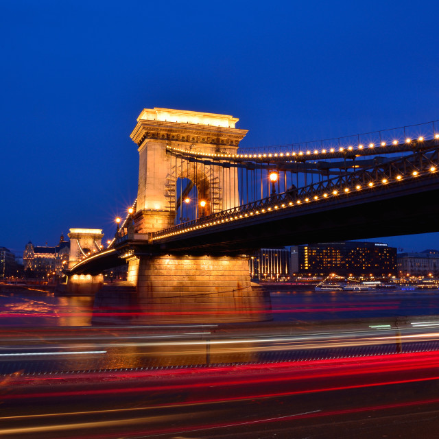 """Szechenyi Chain bridge over Danube river, Budapest, Hungary."" stock image"