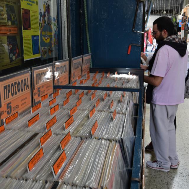 """people vinyl record store"" stock image"