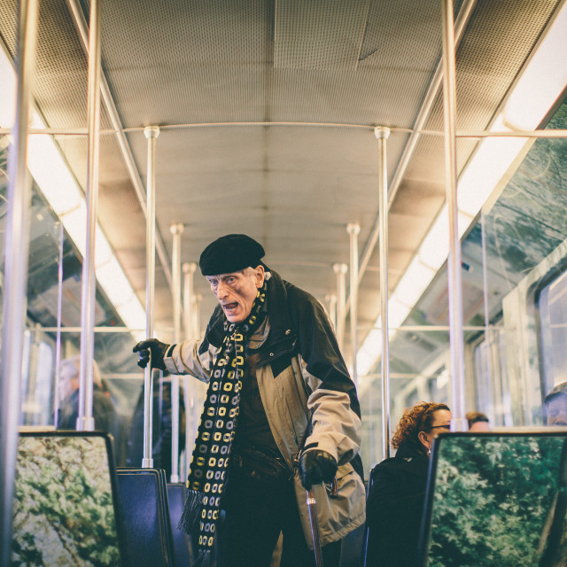 """Old man in Subway"" stock image"