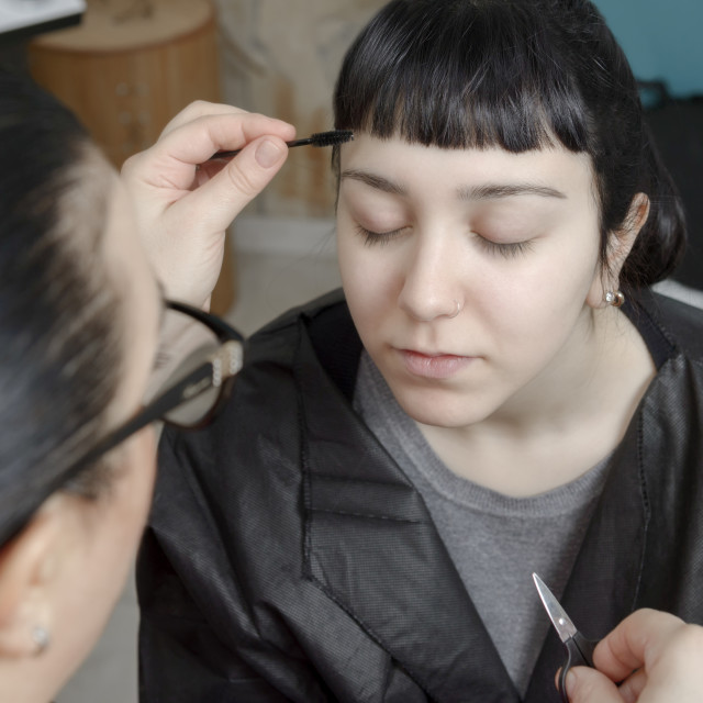 """""""Permanent makeup. Permanent tattooing of eyebrows"""" stock image"""