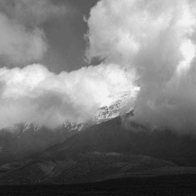 """Chimborazo, a currently inactive stratovolcano in the Cordillera of the..."" stock image"