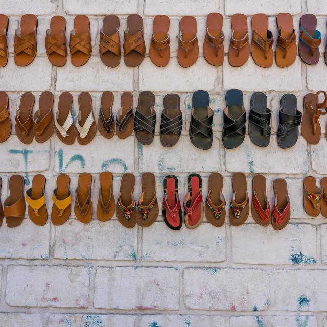 """""""Sandal vendor in Haiti"""" stock image"""