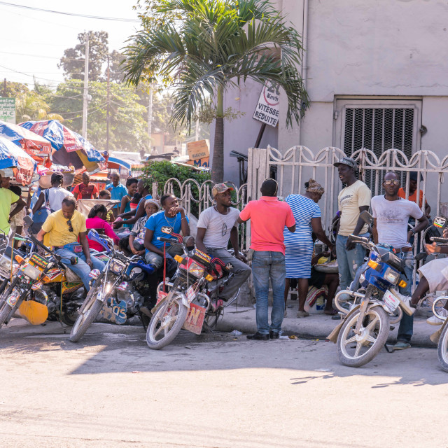 """""""Motorcycle taxi stand in Haiti"""" stock image"""