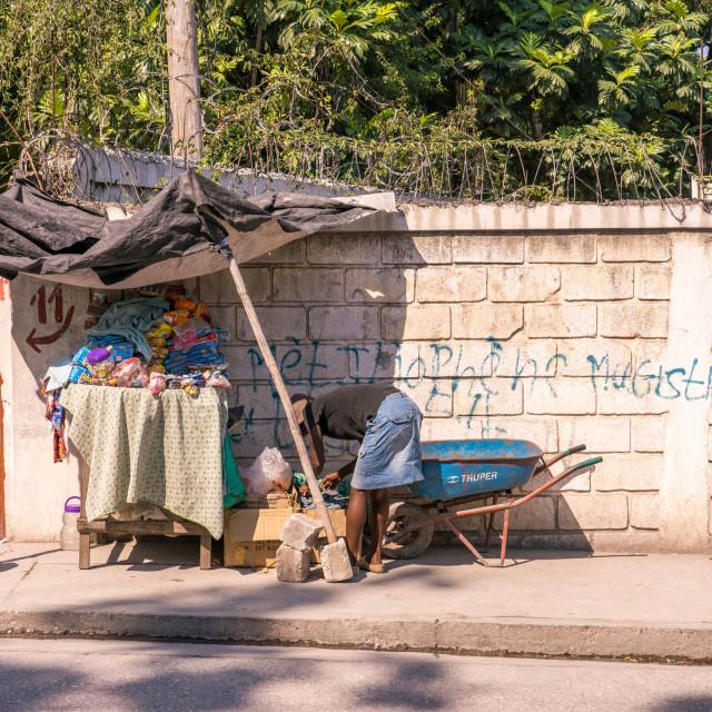 """Setting up shop in Haiti"" stock image"