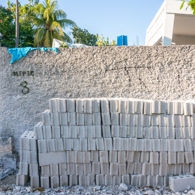 """""""Concrete bricks in Haiti"""" stock image"""