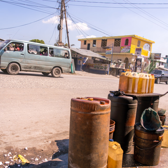 """""""Gas for sale in Haiti"""" stock image"""
