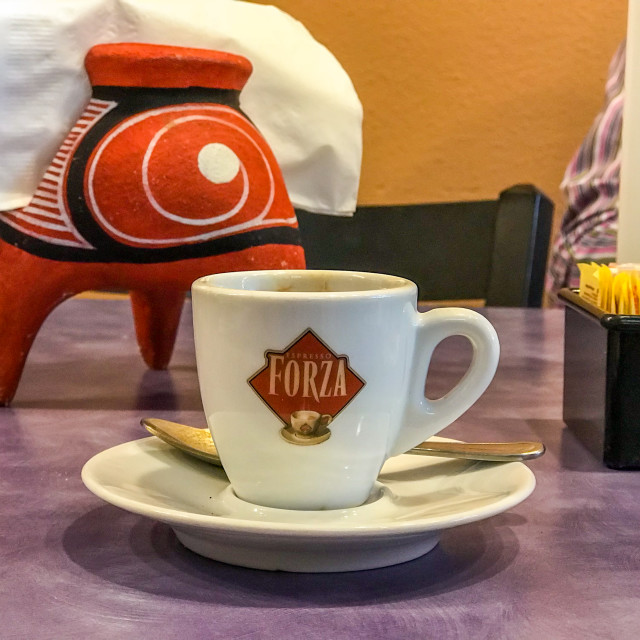 """Selfie of espresso in Latin restaurant"" stock image"