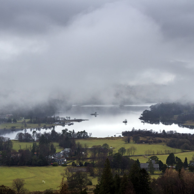"""Ullswater and Patterdale with Mist and Cloud Shrouded Mountains,"" stock image"