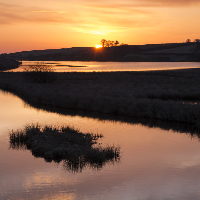 """Sunrise Over the Blackton Reservoir Baldersdale"" stock image"