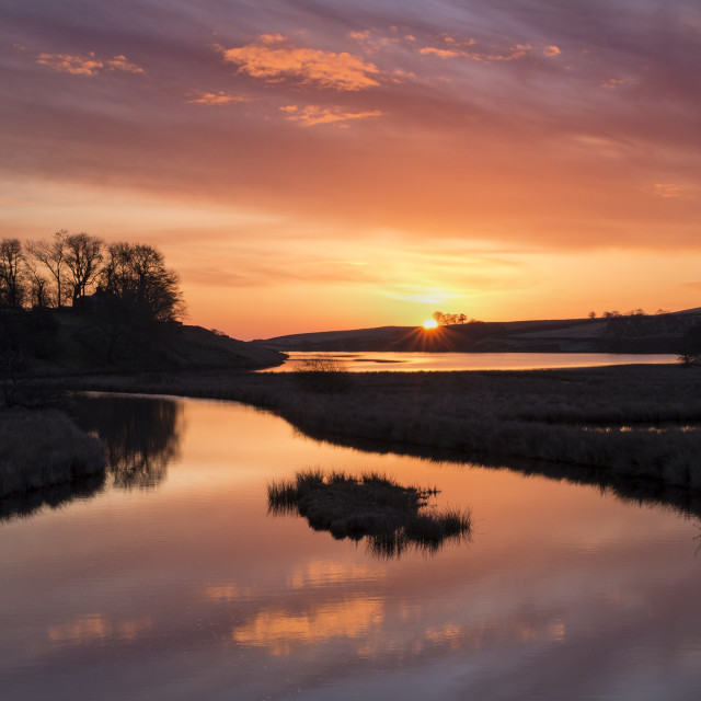 """Colourful Sunrise Over the Blackton Reservoir, Badersdale"" stock image"