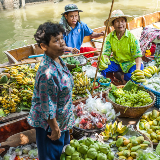 """Khlong Lat Mayom market sellers"" stock image"