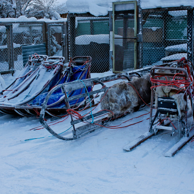 """Equipment covered in Snow in Lappland"" stock image"