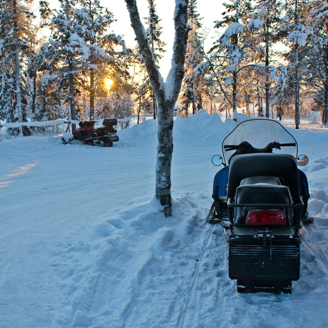 """Snow Mobile in Swedish lappland"" stock image"