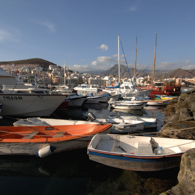 """""""Small crafts and Yachts,Tenerife. Tenerife,"""" stock image"""