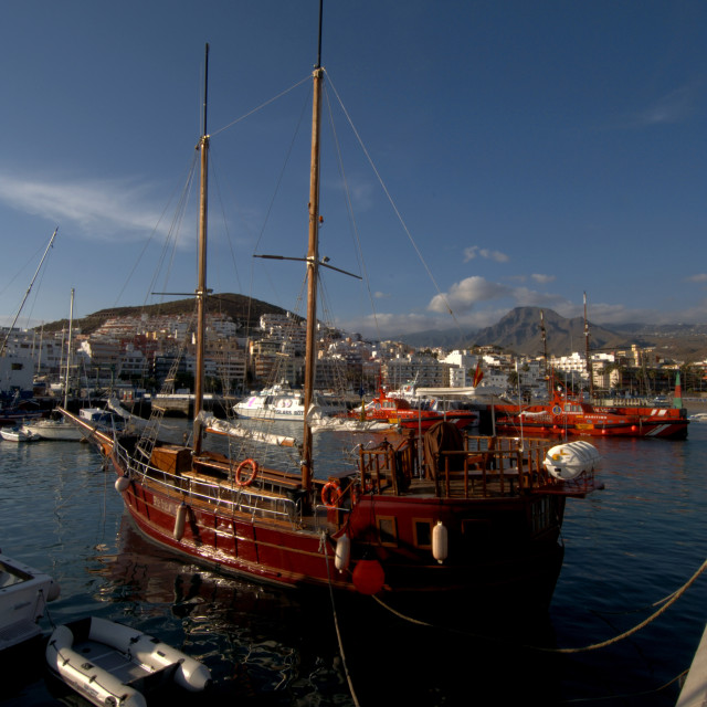 """""""Yacht at anchor, Los Cristianos harbour, Tenerife,Canary Islands. Tenerife,"""" stock image"""