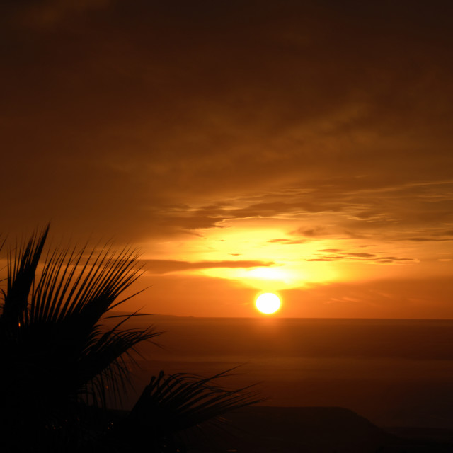 """""""Dramatic sky at dawn over the sea Tenerife,"""" stock image"""