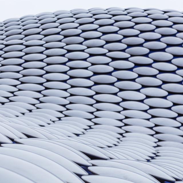 """Rows of discs curve around the Selfridges Building"" stock image"