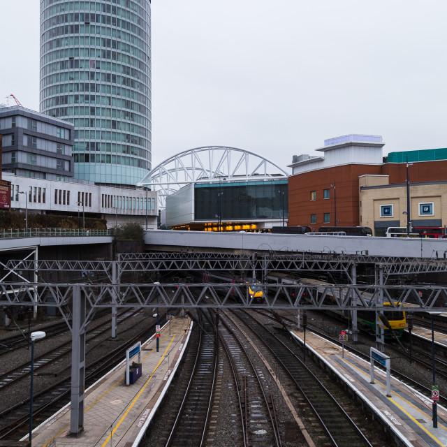 """Platforms of New Street station"" stock image"