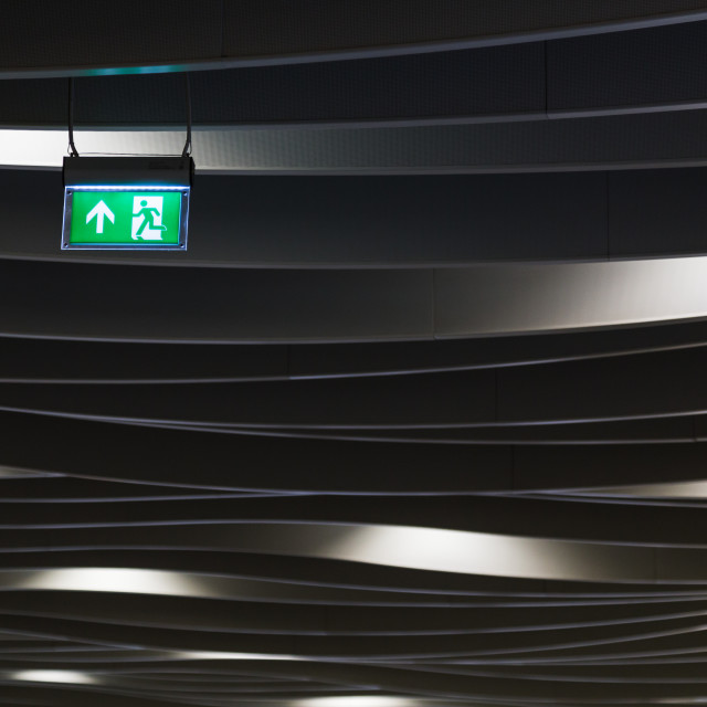 """""""Exit sign in Birmingham New Street station"""" stock image"""